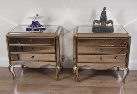 Pair Italian Mirrored Art Deco Bedside Tables