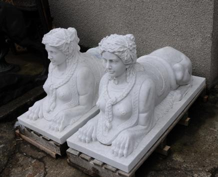 Pair Large Marble Egyptian Sphinxes Sphinx Egypt Empire Art Architectural