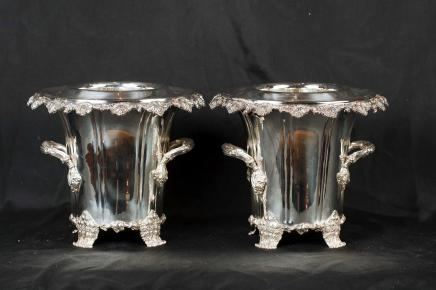 Pair Silver Plate George II Wine Coolers Champagne Buckets Urns