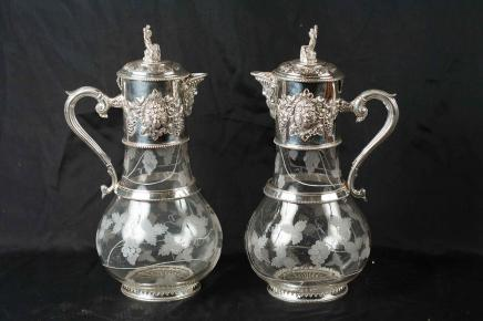 Pair Victorian Silver Plate Jugs Cut Glass Ewer Vase
