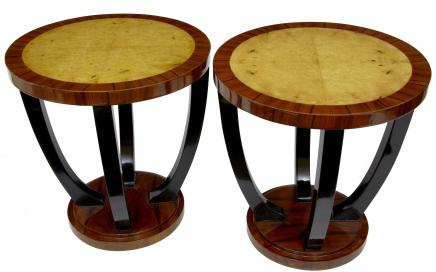 Pair Vintage Art Deco Side Tables Retro Furniture