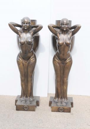 Pair XL Bronze Art Deco Biba Figurine Statues Planters
