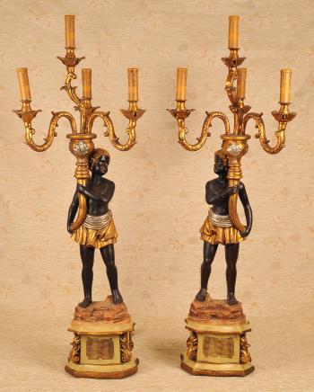 Pr 3 Ft Italian Venetian Blackamoor Candelabras Candle Torchere
