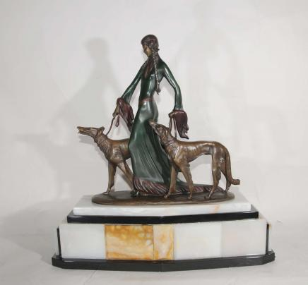 Signed Poertzel Art Deco Bronze Aristocrats Borzoi Dogs Figurine