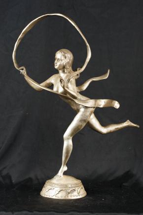 Silver Bronze Casting Art Nouveau Hoop Girl Paul Manship