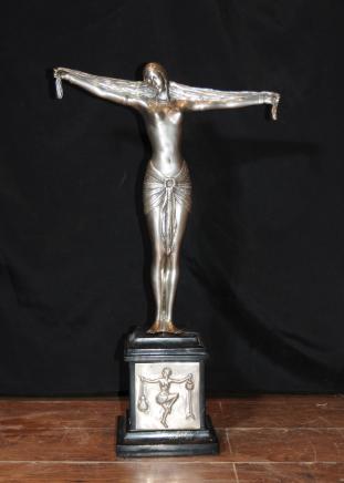 Silver Plate Bronze Art Deco Figurine Statue