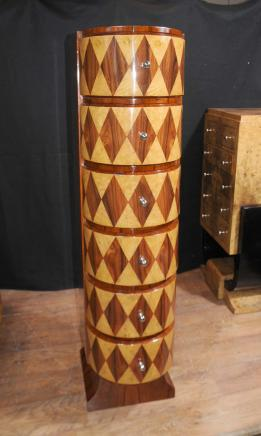 Slim Art Deco Inlay Chest Drawers Tall Boy 1920s Furniture