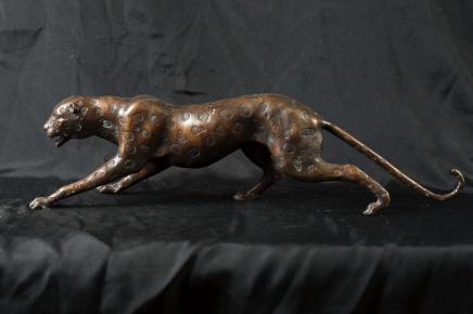 XL Bronze Deco Cheetah Cat Statue Panther Cats Animal Castings