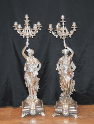 3 ft French Silver Plate Gregoire Candelabras Liberty New York