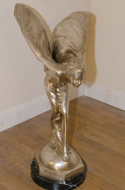 4 FT BRONZE ROLLS ROYCE SILVER SPIRIT SKYES SCULPTURE