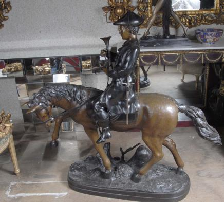 4 ft French Bronze Horse Huntsman Bronze Hunt