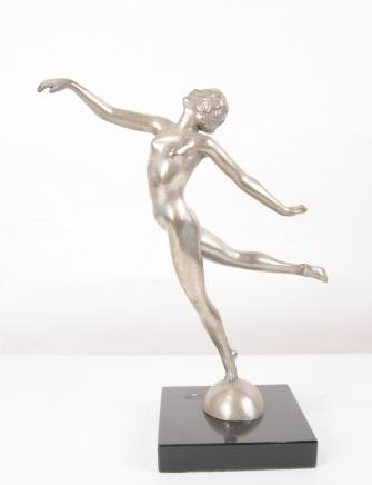 Art Deco Bronze Graceful Dancer Statue Semi Naked Figurine