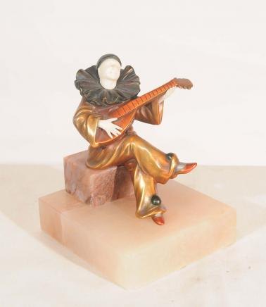 Art Deco Clown Mandolin Player Statue by Chiparus