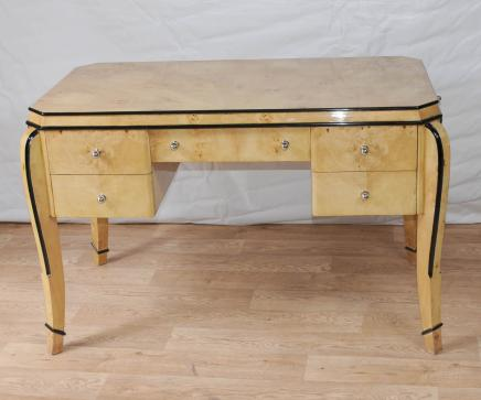 Art Deco Desk Writing Table Bureau Blonde Walnut Furniture