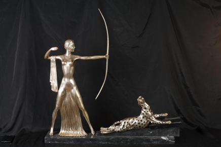 Bronze Art Deco Diana Huntress Archer Figurine Leopard Cat Statue Casting