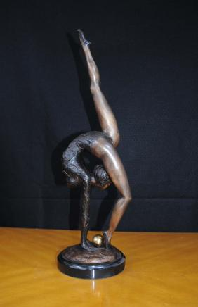 Bronze Art Deco Figurine Ball Ballet Dancer Statue Gymnast