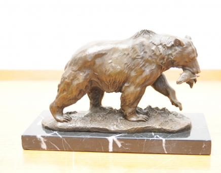 Bronze Brown Grizzly American Bear Statue