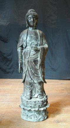 Bronze Buddha Statue Indian Buddhism Buddhist Religious Art Sculpture