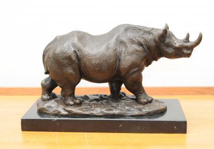 Bronze Casting African Rhino Rhinoceros Tribal Art