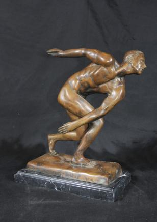 Bronze Discus Thrower Statue Classic Italian Art
