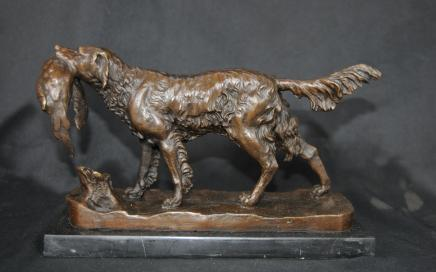 Bronze Dog Pheasant Hunt Statue Signed Moigniez