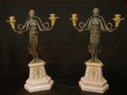 Bronze Empire Maiden Candelabras Candlesticks Marble
