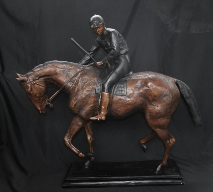 Bronze Horse Jockey Signed Bonheur Derby French