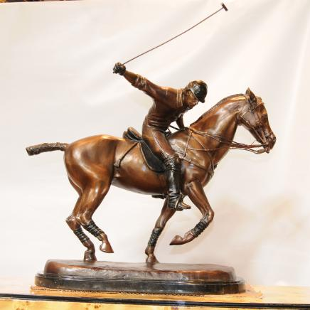 Bronze Polo Player Horse Jockey Statue Casting