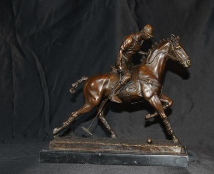Bronze Polo Player Horse & Jockey Statue Signed