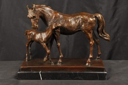 Bronze Statue Mare Foal Horse Mother Child