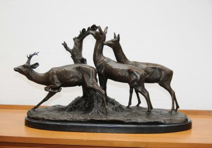 Bronze Trio Stags Statue Stag Moose Deer Elk