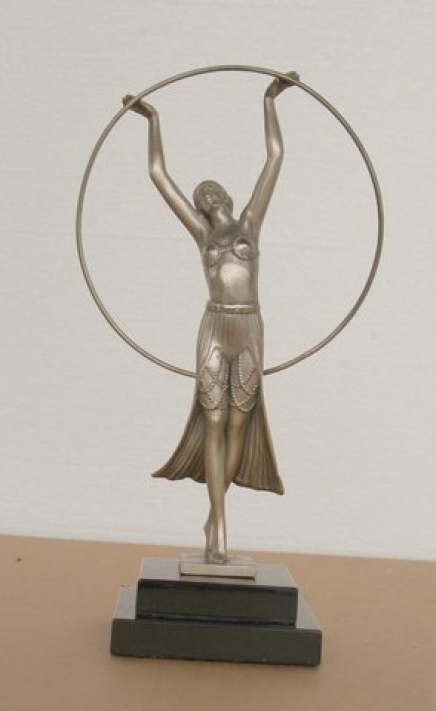 Charles Sykes Art Deco Bronze Hoop Girl
