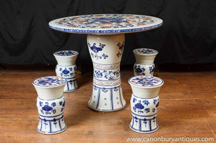 Chinese Nanking Porcelain Table Chair Garden Set Seat Stool Pottery Chairs