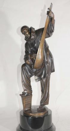 Chiparus Art Deco Bronze Clown Mandolin Statue