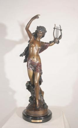 Classic Bronze Statue Figurine Casting Harp Girl by Moreau