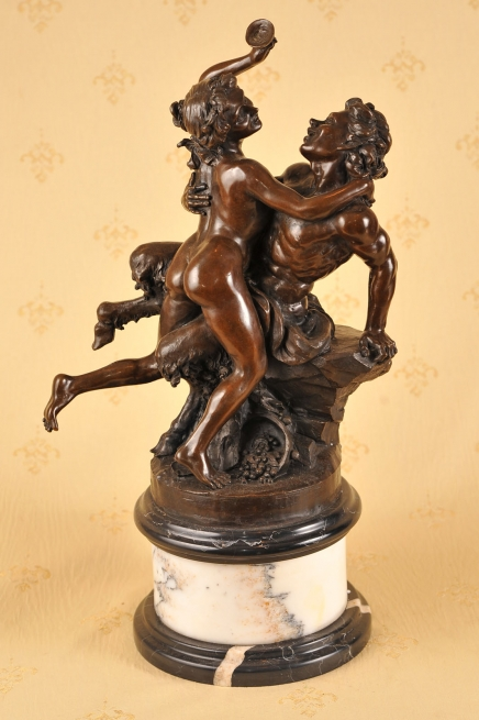 Classic French Bronze Bacchus Satyre Sabine Statue