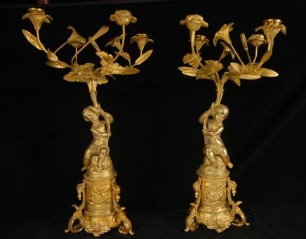 Classic French Rococo Ormolu Cherub Candelabras Candle