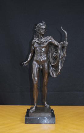 Classic Italian Bronze Statue Apollo Naked Figurine Roman