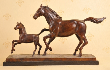 ENGLISH BRONZE CASTING MARE & PONY HORSE HORSES FOAL