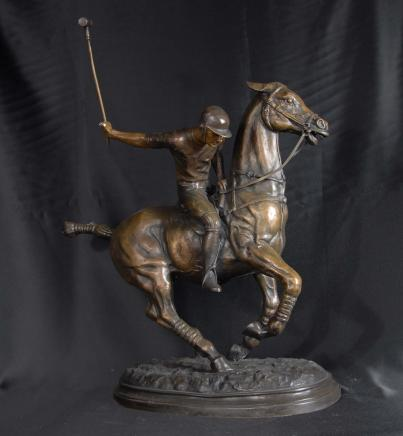English Bronze Polo Player Horse Jockey Statue