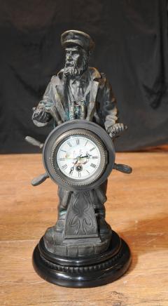 English Bronze Statue Sea Captain Helmsman Figure Ship Helm Clock