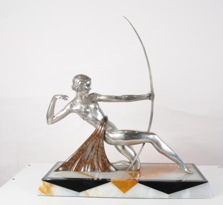 French Art Deco Bronze Diana Archer Statue Figurine Bow Arrow