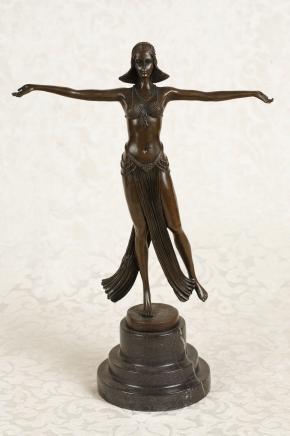 French Art Deco Bronze Figurine Signed Descomps Statue