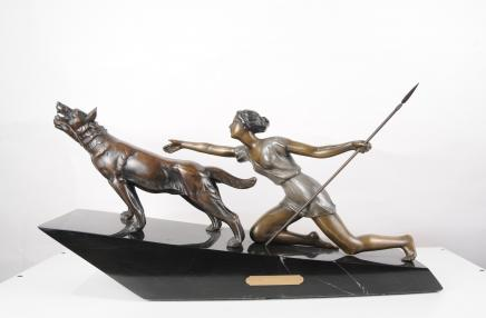French Art Deco Diana Hunter Statue by Laurens Dogs