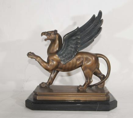 French Bronze Art Deco Griffin Signed Laurens