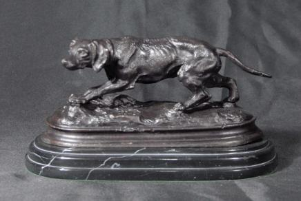 French Bronze Casting Blood Hound Dog Signed Mene
