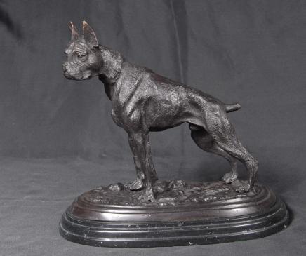 French Bronze Casting Boxer Dog by PJ Mene
