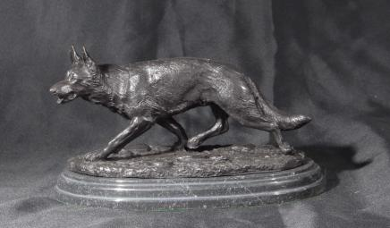 French Bronze Fox Statue Signed E Drouot Cunning Dog