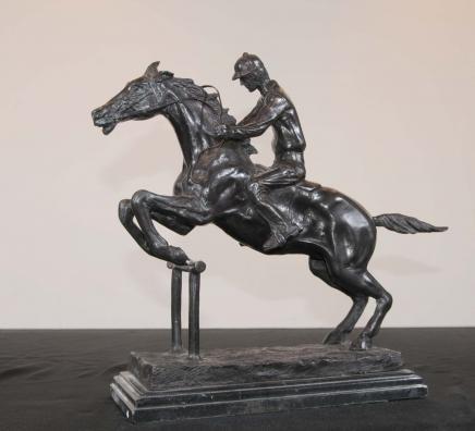 French Bronze Horse Jockey Bonheur Horses Jump Statue
