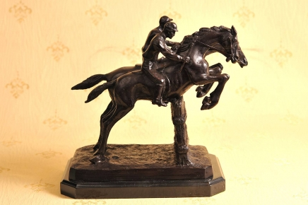 French Bronze Horse Jockey Signed Bonheur Steeplechase